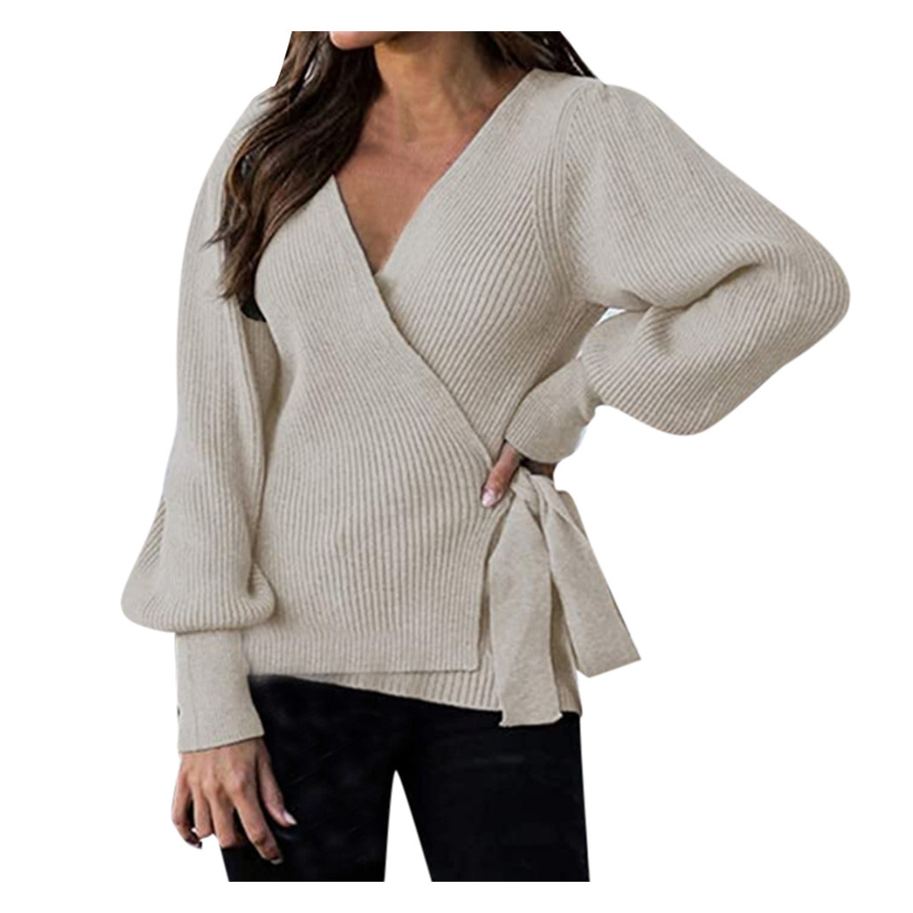 Lace Up V-Neck Sweater Loose Knitted Cardigan