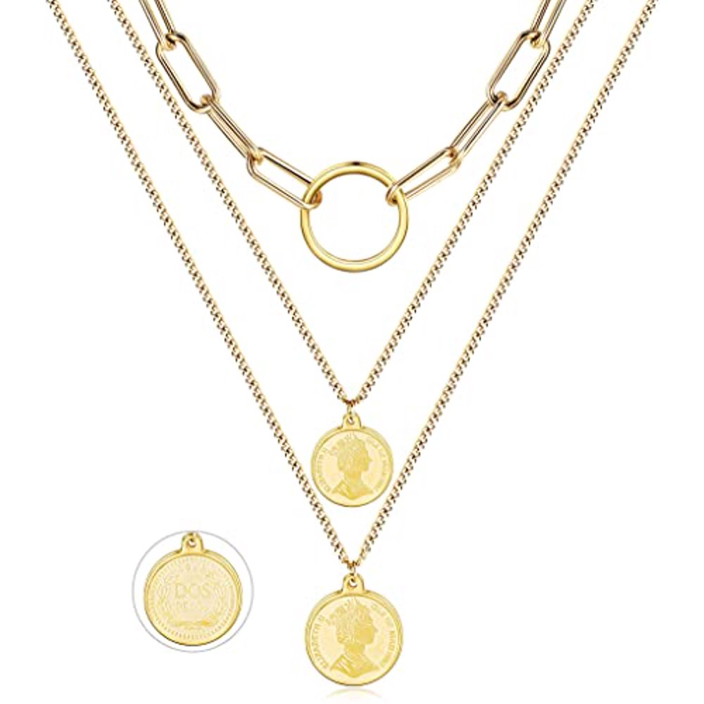 Gold Coin Necklace 14K Gold Plated