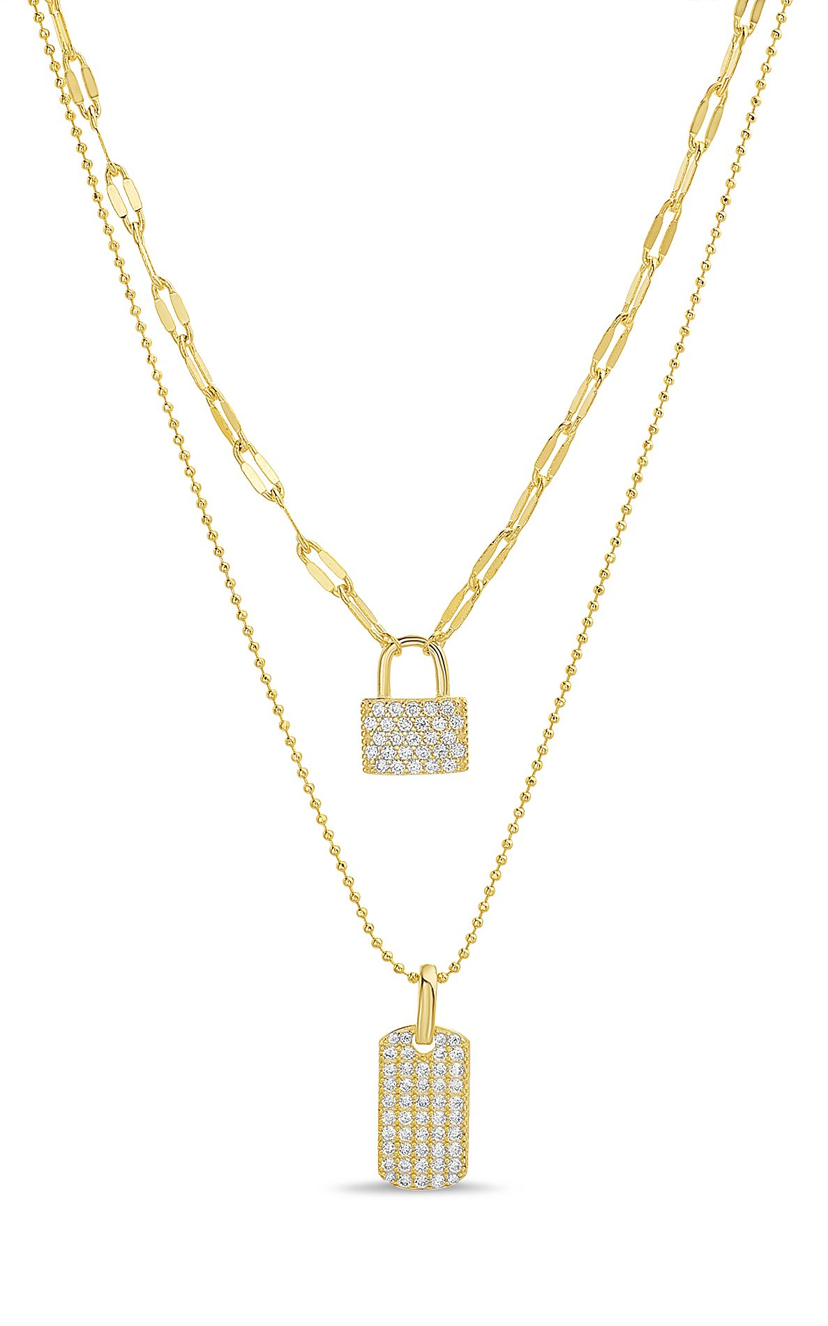 Lesa Michele Yellow Gold Plated Sterling Double Layered Necklace