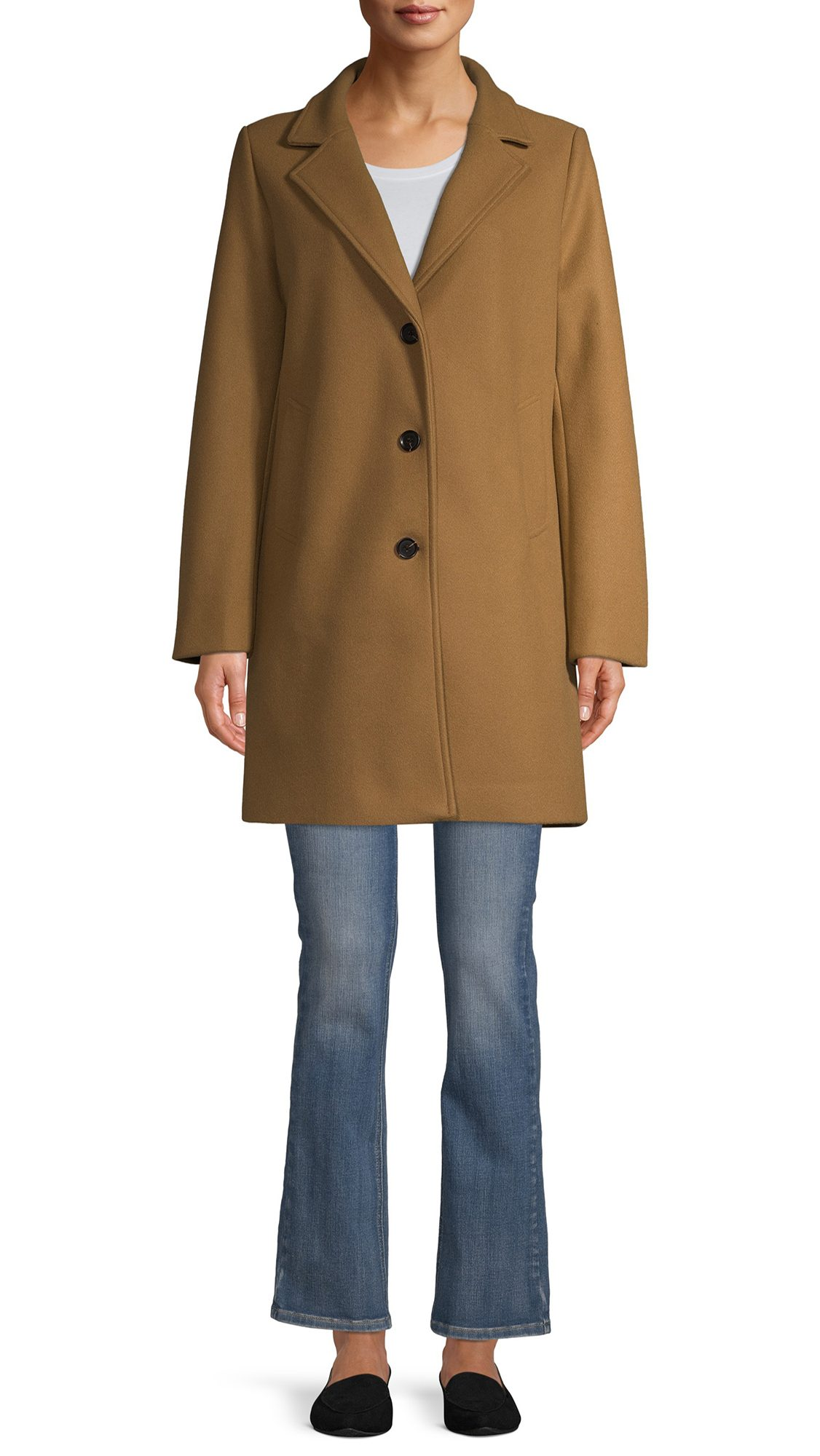 Time and Tru Women's Faux Wool Button Front Dad Coat