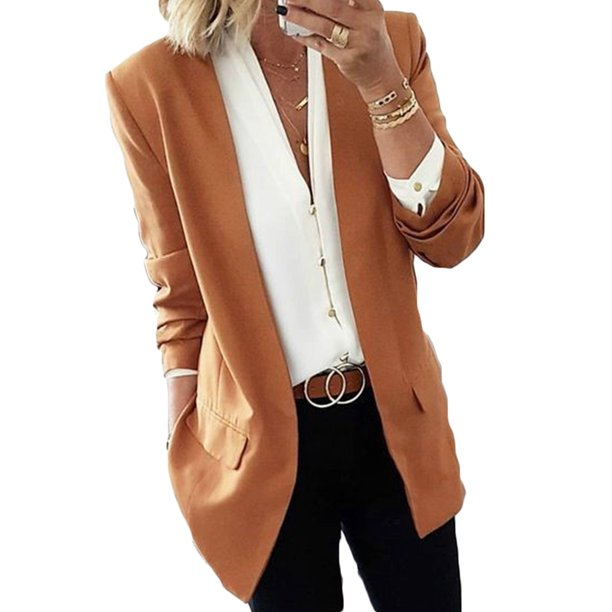 Long Sleeves Slimming Business Blazer Open Front