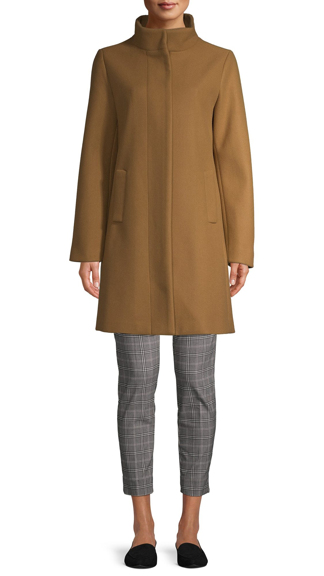 Time and Tru Women's Faux Wool Funnel Neck Coat with Placket