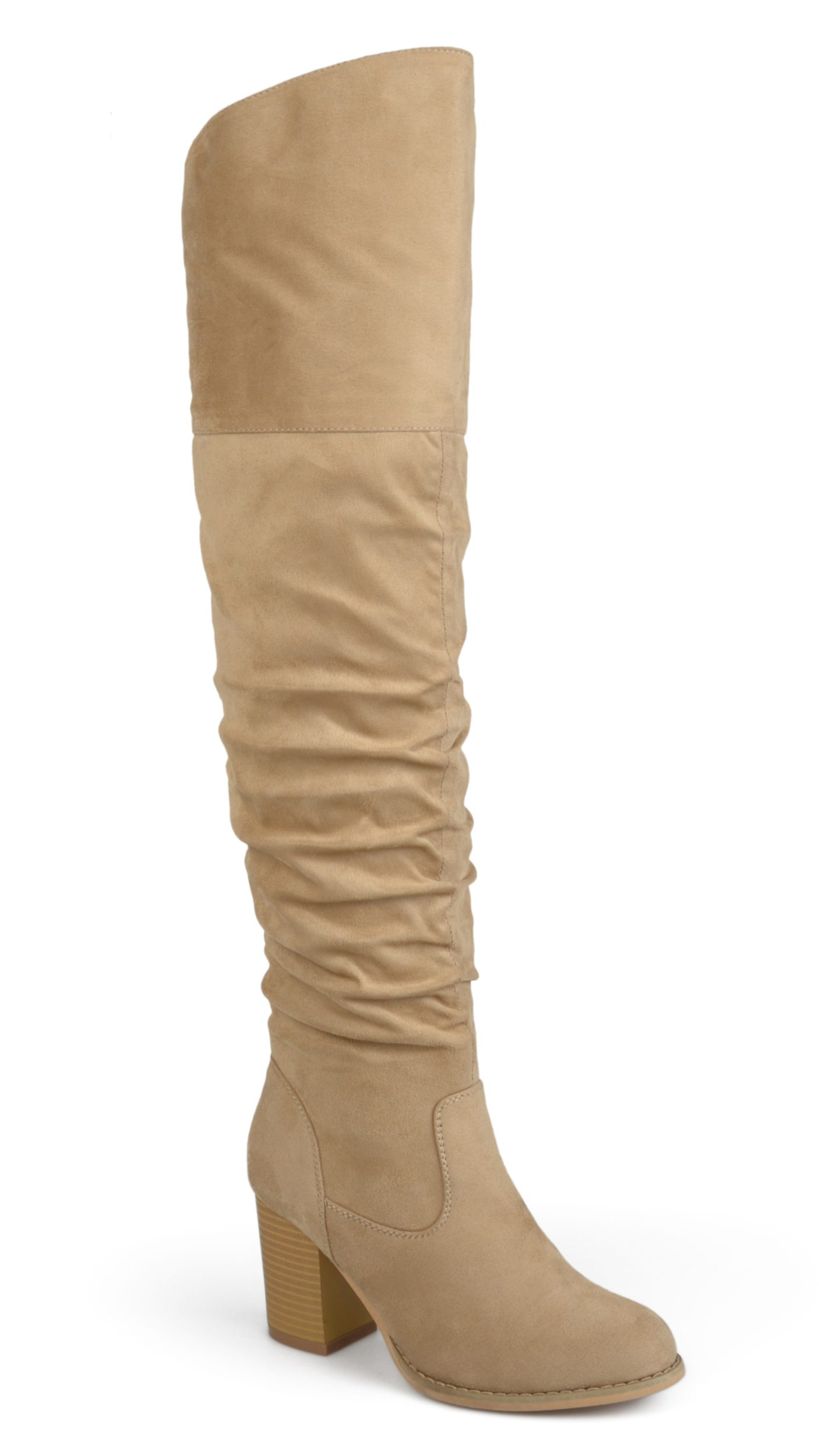 Brinley Co. Wide Calf Ruched Stacked Heel Faux Suede Over-the-knee Boots