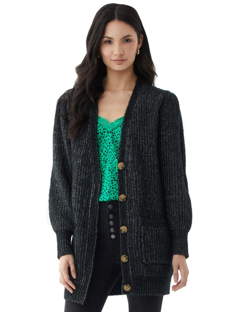 Scoop Women's Grandpa Sweater with Puff Sleeves