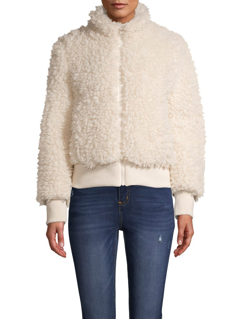 Faux Sherpa Zip-Front Bomber