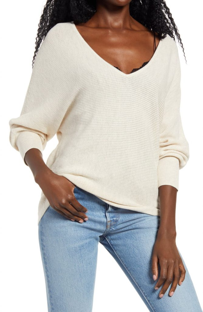 This image has an empty alt attribute; its file name is Dolman-Sleeve-V-Neck-Sweater-1-668x1024.jpeg