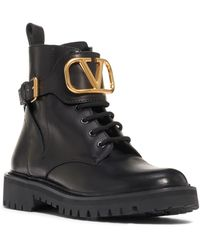 This image has an empty alt attribute; its file name is V-Logo-Buckle-Combat-Boot.jpeg