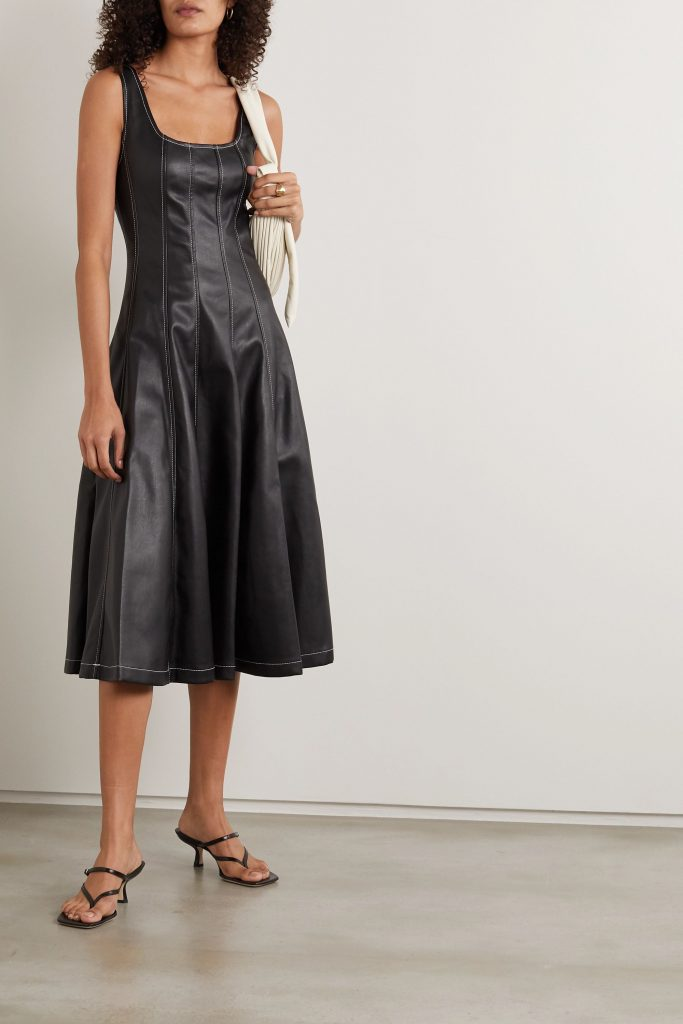 This image has an empty alt attribute; its file name is Wells-topstitched-faux-leather-midi-dress-683x1024.jpg