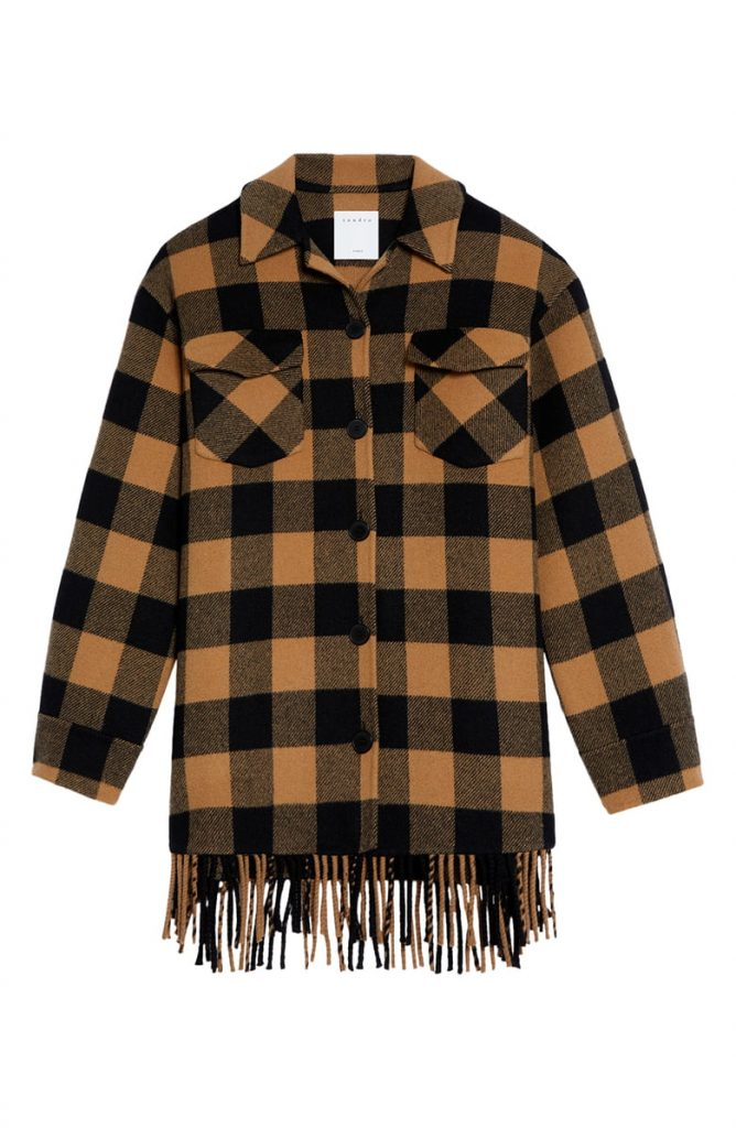 Sandro Buffalo Plaid Fringe Hem Wool Blend Jacket