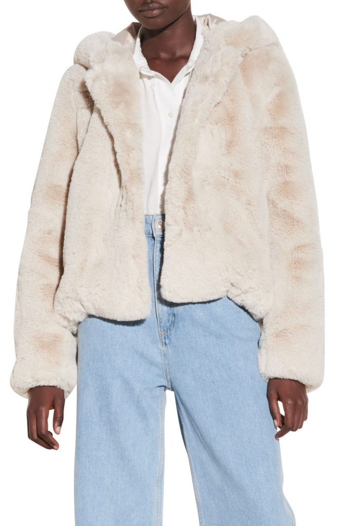 Sandro Faux Fur Hooded Jacket