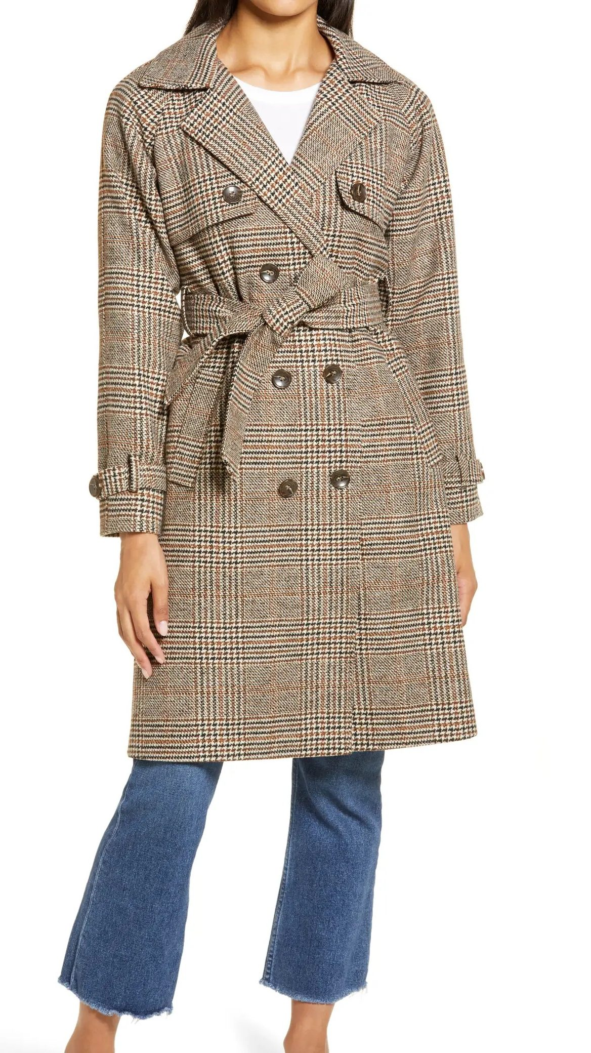 Halogen Plaid Trench Coat