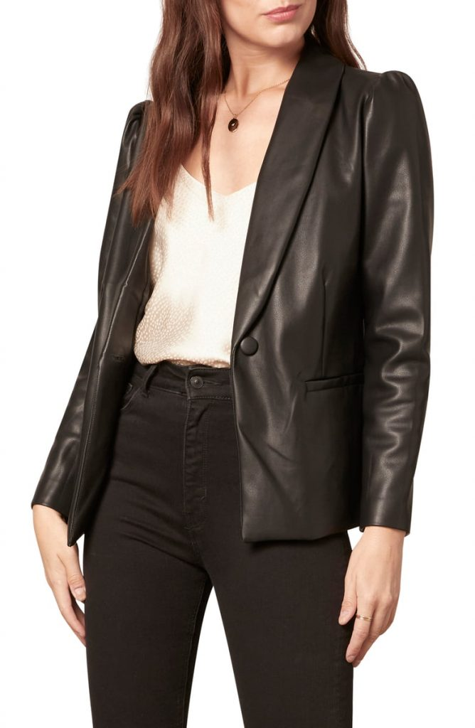 Cupcakes And Cashmere Fallon Puff Sleeve Faux Leather Jacket